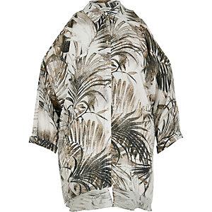 Cream print cold shoulder shirt