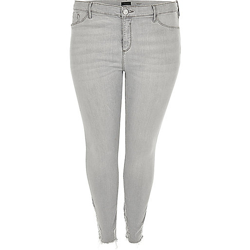 Plus – Molly – Jeggings in grauer Waschung