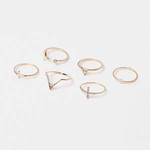 Gold tone diamanté rings pack