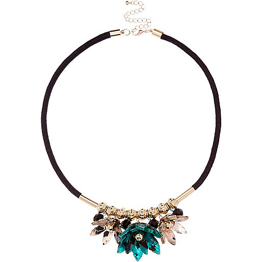 Gold tone perspex flower necklace