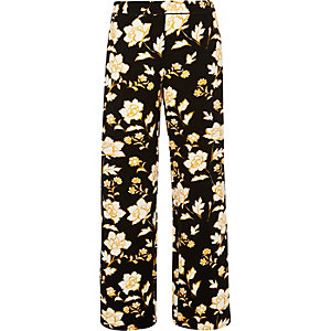 Black print straight leg pants