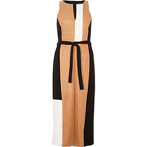 Brown block panel belted dress