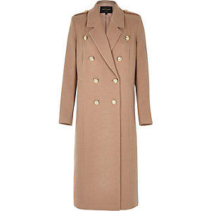 Light pink double-breasted military coat