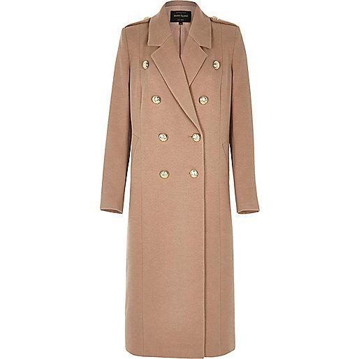 Manteau double boutonnage style militaire rose clair