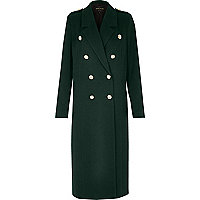 Green duster military coat