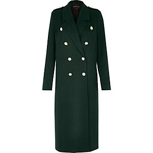 Green double-breasted military coat