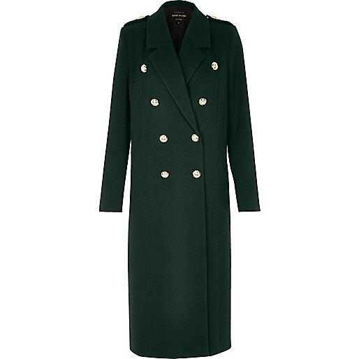 Manteau double boutonnage style militaire vert