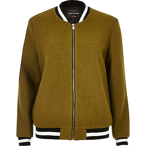 Khaki ribbed wool bomber jacket