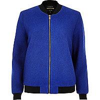 Blouson en laine côtelé bleu
