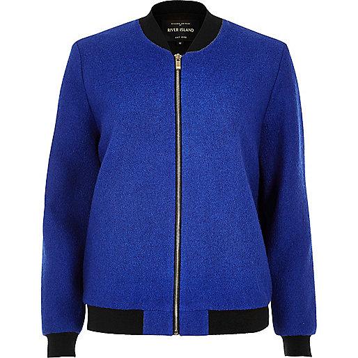 Blaue, gerippte Bomberjacke aus Wolle