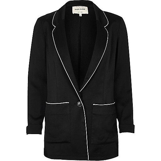 Black satin pajama jacket