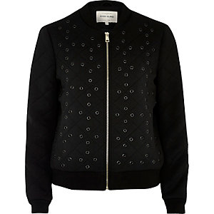 Black eyelet detail bomber jacket