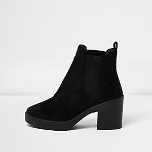 Black faux suede block heel Chelsea boots