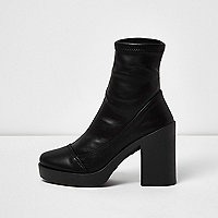 Black chunky platform sock boots