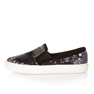 Purple sequin plimsolls