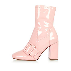 Pink patent stretch ankle boots