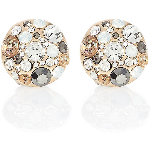 Gold tone jewel cluster stud earrings