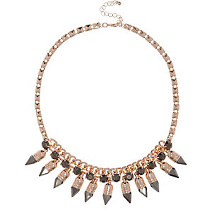 Rose gold tone spike necklace
