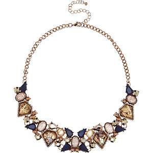 Rose gold tone embellished bib necklace
