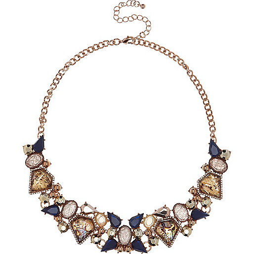 Rose gold tone embellished bib necklace
