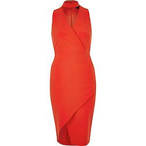 Red wrap choker bodycon dress