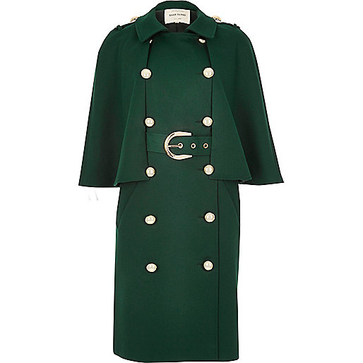 Dark green double-breasted cape coat