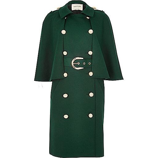 Dark green double-breasted cape coat