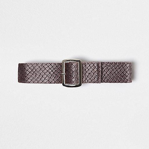 Purple textured buckle choker