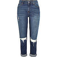 Ashley – Dunkelblaue Boyfriend-Jeans im Used-Look
