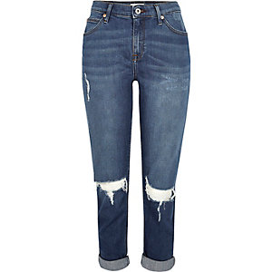 Dark blue wash ripped Ashley boyfriend jeans