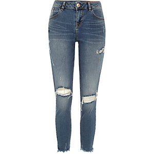 Blue ripped Alannah relaxed skinny jeans
