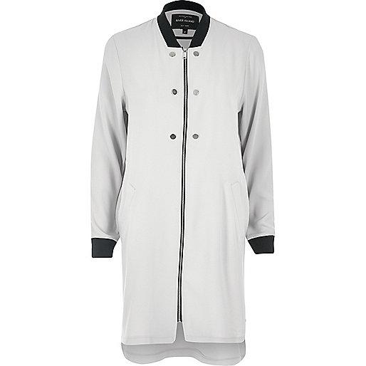 Light grey bomber duster jacket