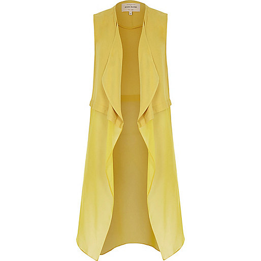 Gelbe, ärmellose Duster-Jacke aus Chiffon