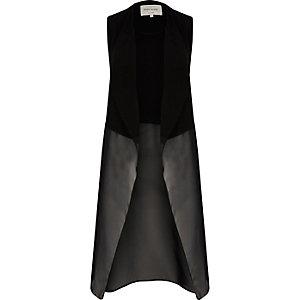Manteau long sans manche en mousseline noire