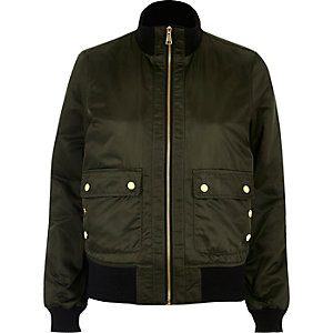 Khaki green high neck bomber jacket