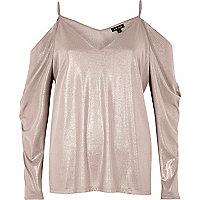 Metallic pink ruched cold shoulder top