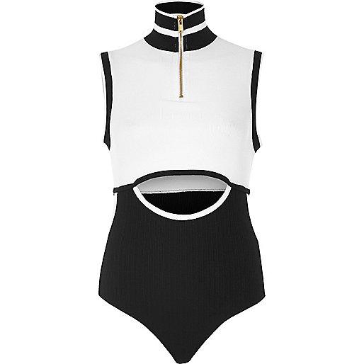 White sporty cut-out bodysuit
