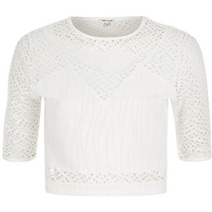 White embroidered mesh crop top