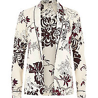 Cream floral print pajama shirt jacket