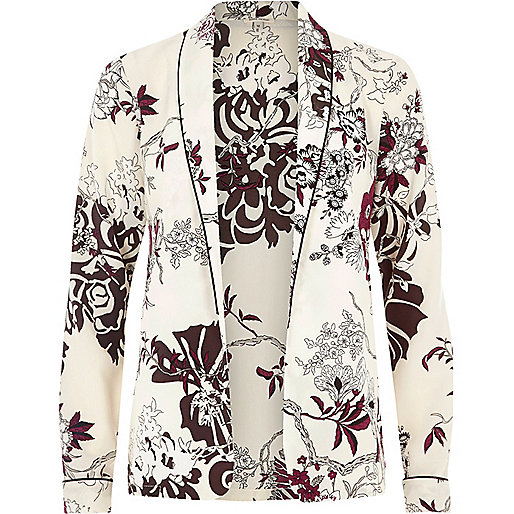 Cream floral print shirt jacket