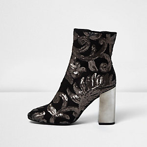 Grey embroidered sequin block heel boots