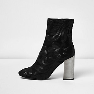 Black embroidered sequin block heel boots