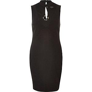 Black neck trim bodycon dress