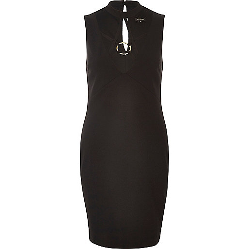 Schwarzes Bodycon-Kleid mit Zierbordüre