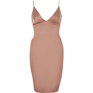 Pink plunge bodycon mini dress