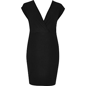 Black plunge neck jersey dress