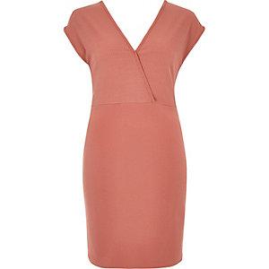 Pink plunge neck jersey dress