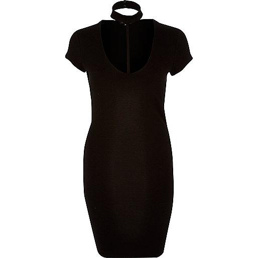 Black T-bar dress