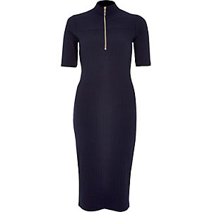 Navy zip front rib dress