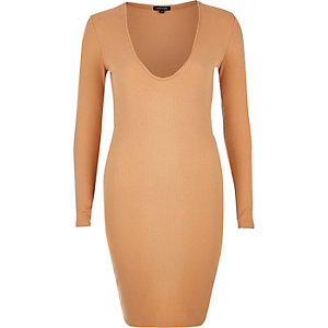 Nude ribbed plunge dress
